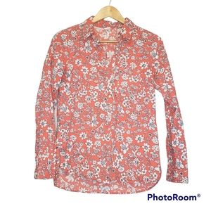 3 for $25 Gap Orange Blue Floral Flower Button Down Top Extra Small XS